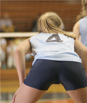 from Wayne girls bent over in volleyball shorts